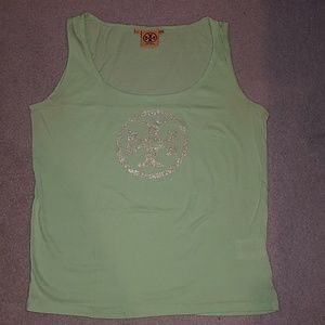 Tory burch honeydew color tank with gold logo